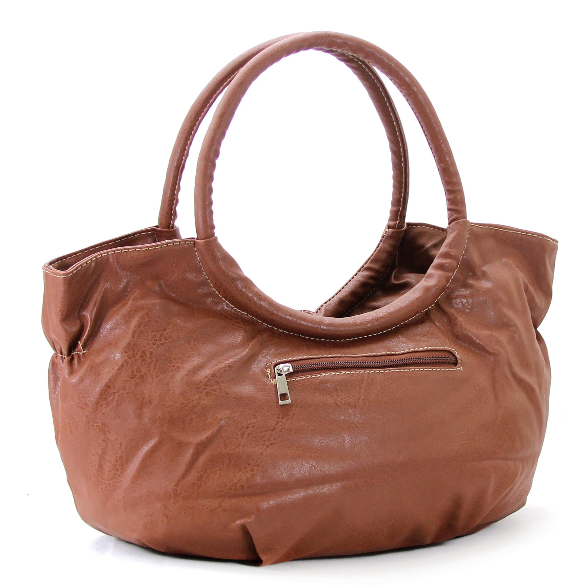 Everyday Trendy Flower Purse Handbag Tote Bag - Brown - Pop Fashion