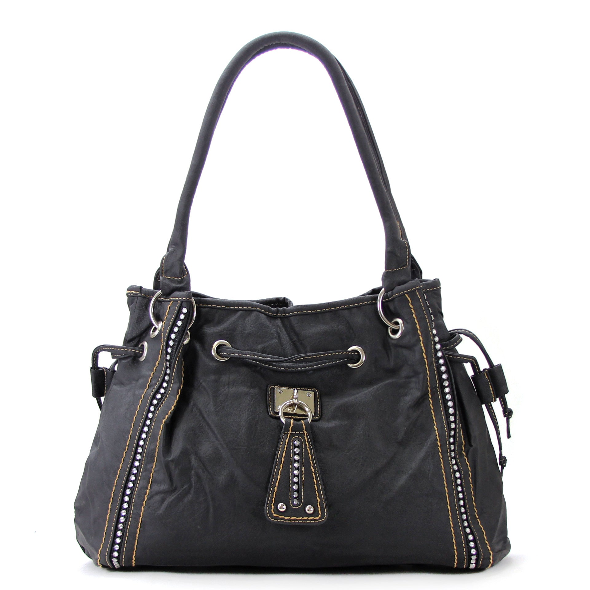 Everyday Casual Cinch Purse Handbag Tote Bag - Black - Pop Fashion