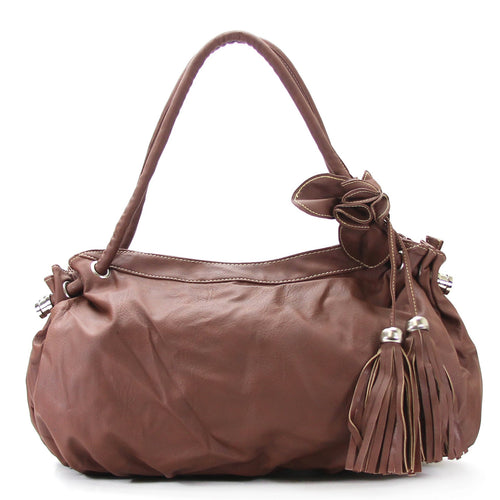 Casual Trendy Flower Tassell Purse Handbag Tote Bag - Dark Brown