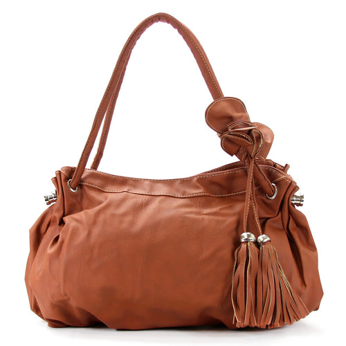 Casual Trendy Flower Tassell Purse Handbag Tote Bag - Brown