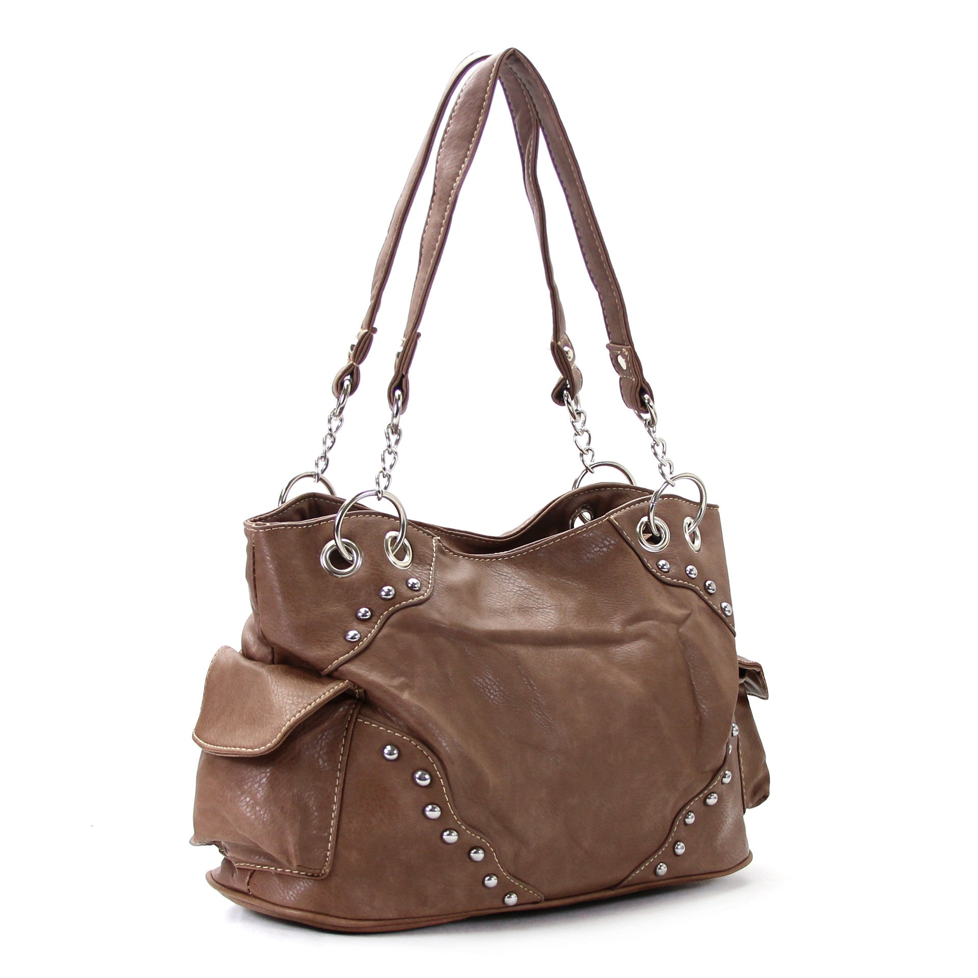 Universal Trendy Studded Slack Purse Handbag Tote Bag - Dark Brown - Pop Fashion