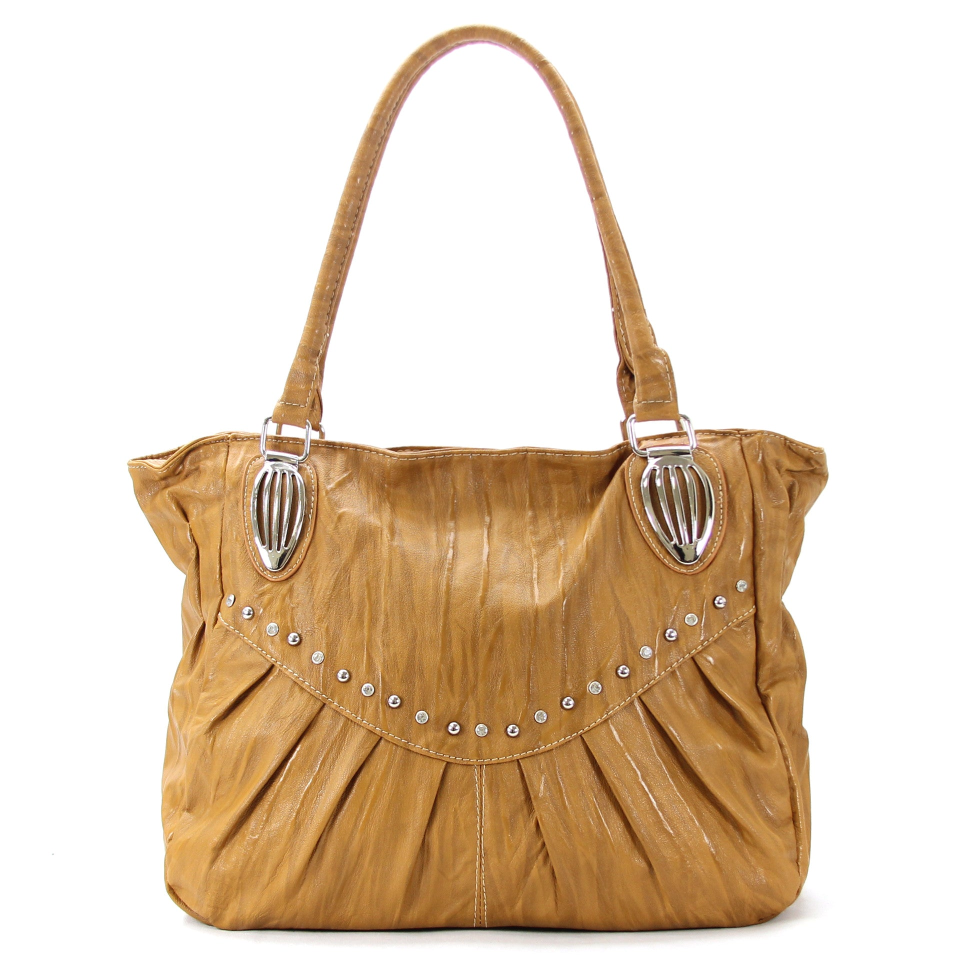 Everyday Universal Pleated Stud Purse Handbag Tote Bag - Khaki - Pop Fashion