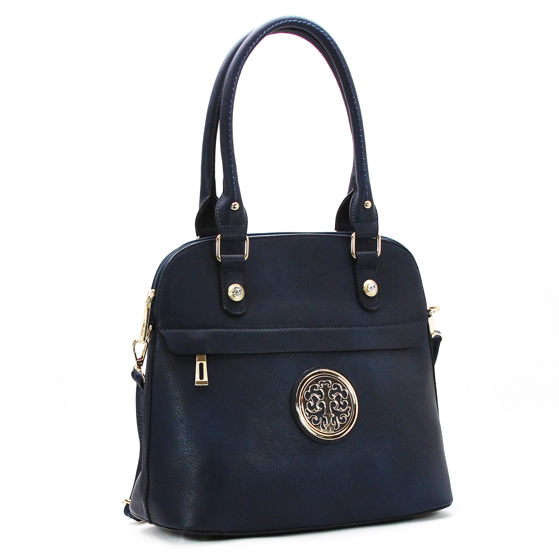 Trendy Dressy Emblem Purse Handbag Tote Bag- Navy - Pop Fashion