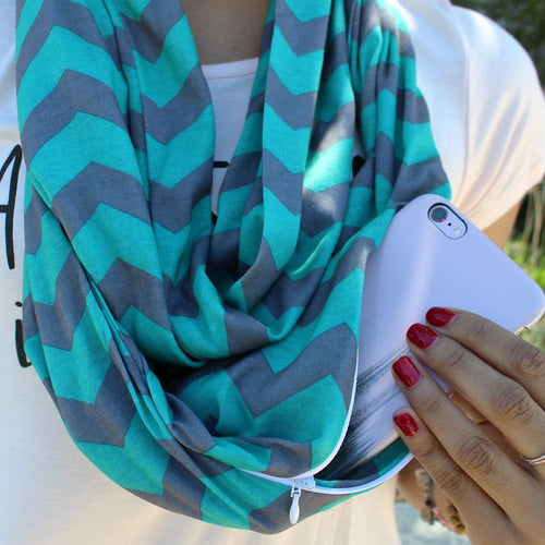 Women's Chevron Print Infinity Scarf with Zipper Pocket, Chevron Scarf Design, Infinity Scarves