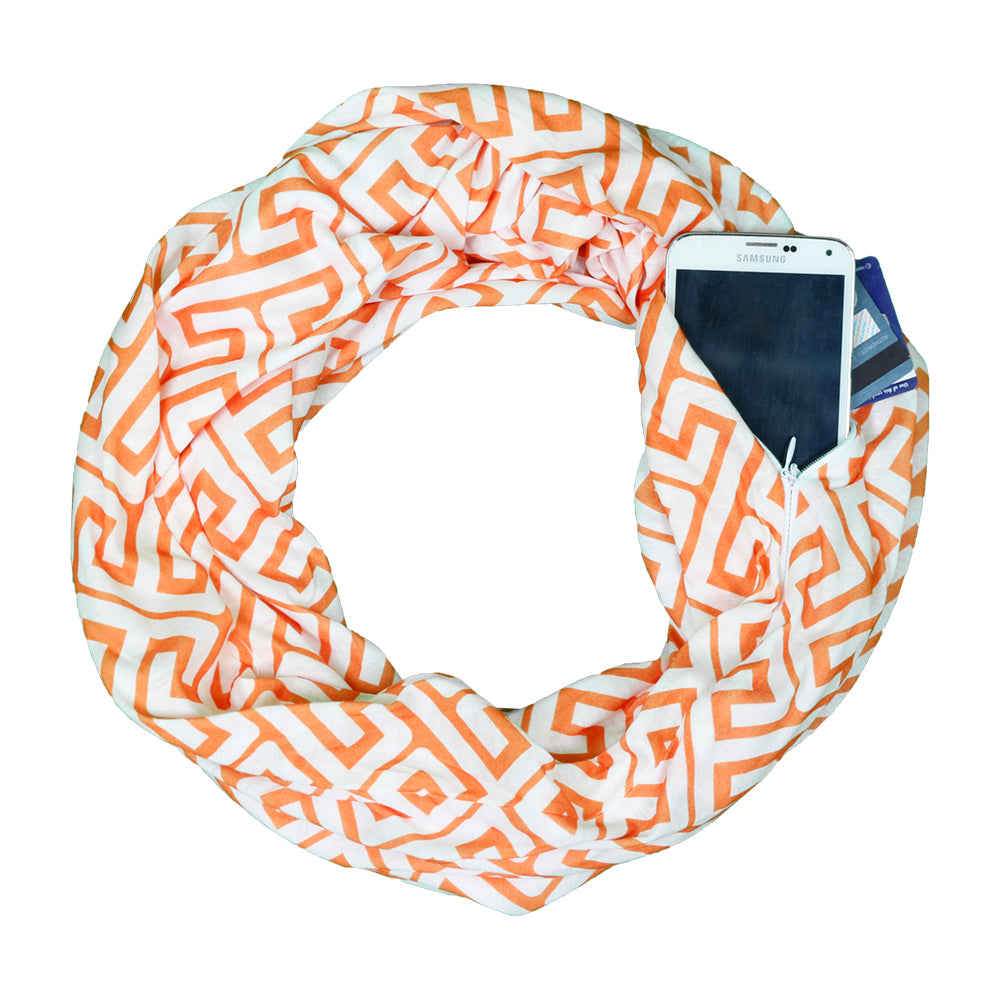 Pop Fashion Women's Infinity Pocket Scarf with Zipper Pocket, Greek Key Scarf Design, Infinity Scarves