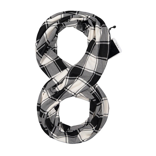 Pop Fashion Checkmate Hidden Pocket Scarf - Lightweight Plaid Infinity Scarves with Zipper Pockets