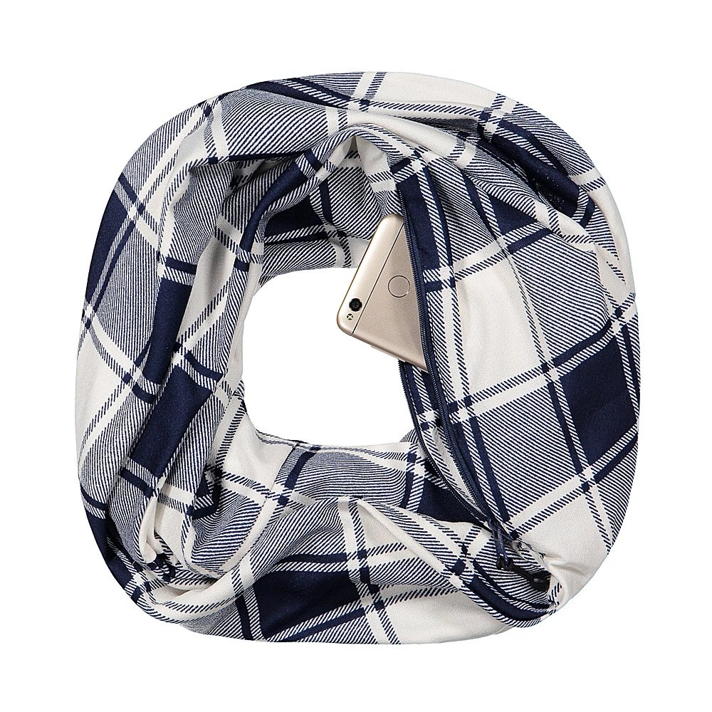 Pop Fashion Checkmate Hidden Pocket Scarf - Lightweight Plaid Infinity Scarves with Zipper Pockets - Pop Fashion