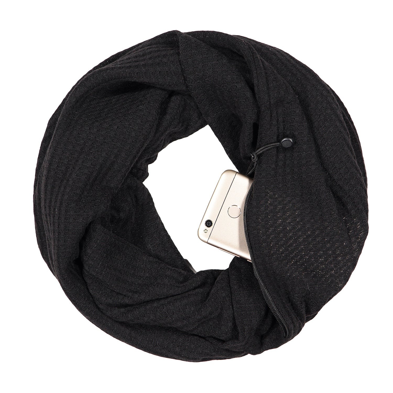 Pop Fashion Warmin-Up Hidden Pocket Scarf - Lightweight Infinity Scarves with Zipper Pockets - Pop Fashion
