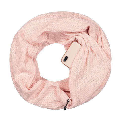 Pop Fashion Warmin-Up Hidden Pocket Scarf - Lightweight Infinity Scarves with Zipper Pockets