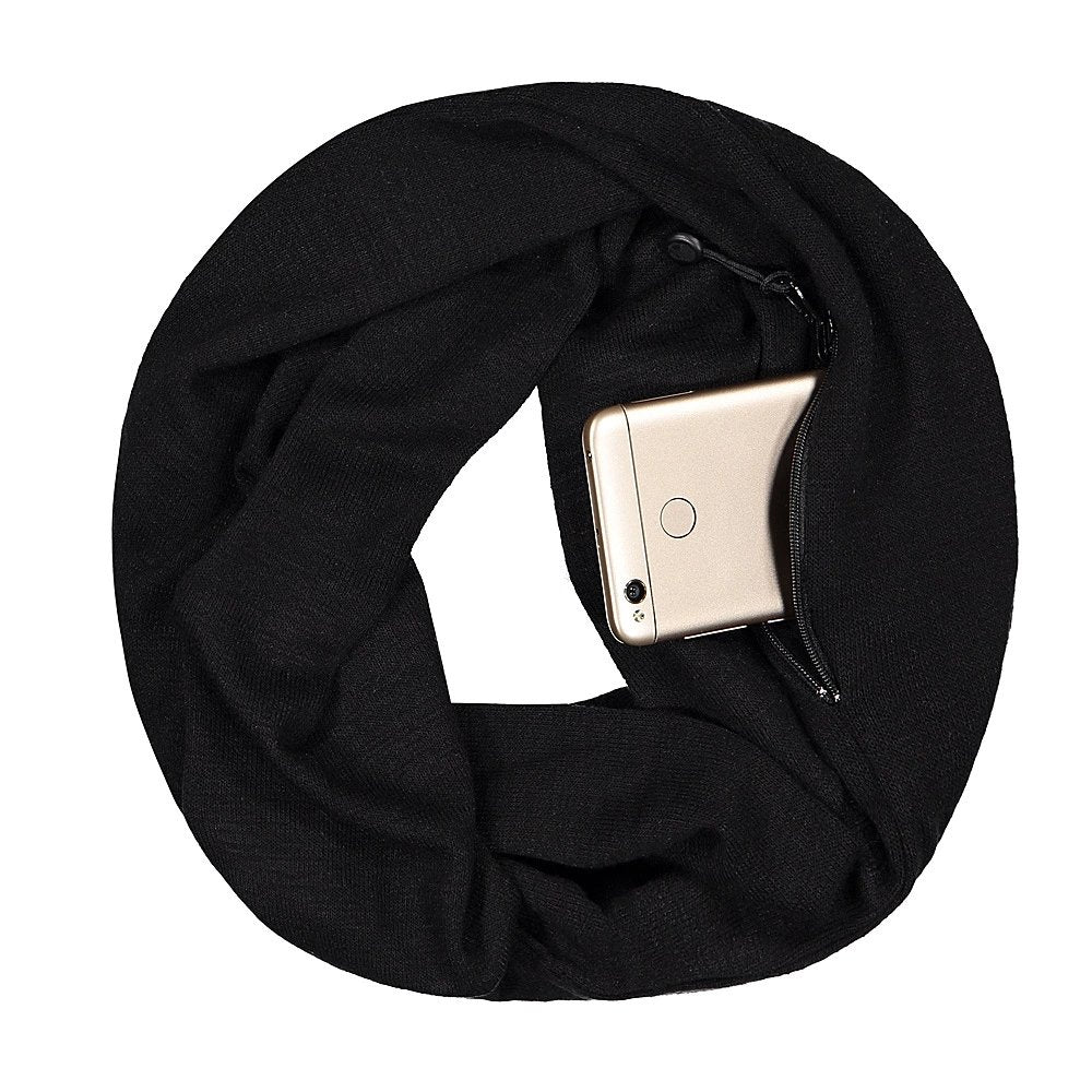 Pop Fashion Travel-in-Style Hidden Pocket Scarf - Lightweight Heathered Infinity Scarves with Zipper Pockets - Pop Fashion