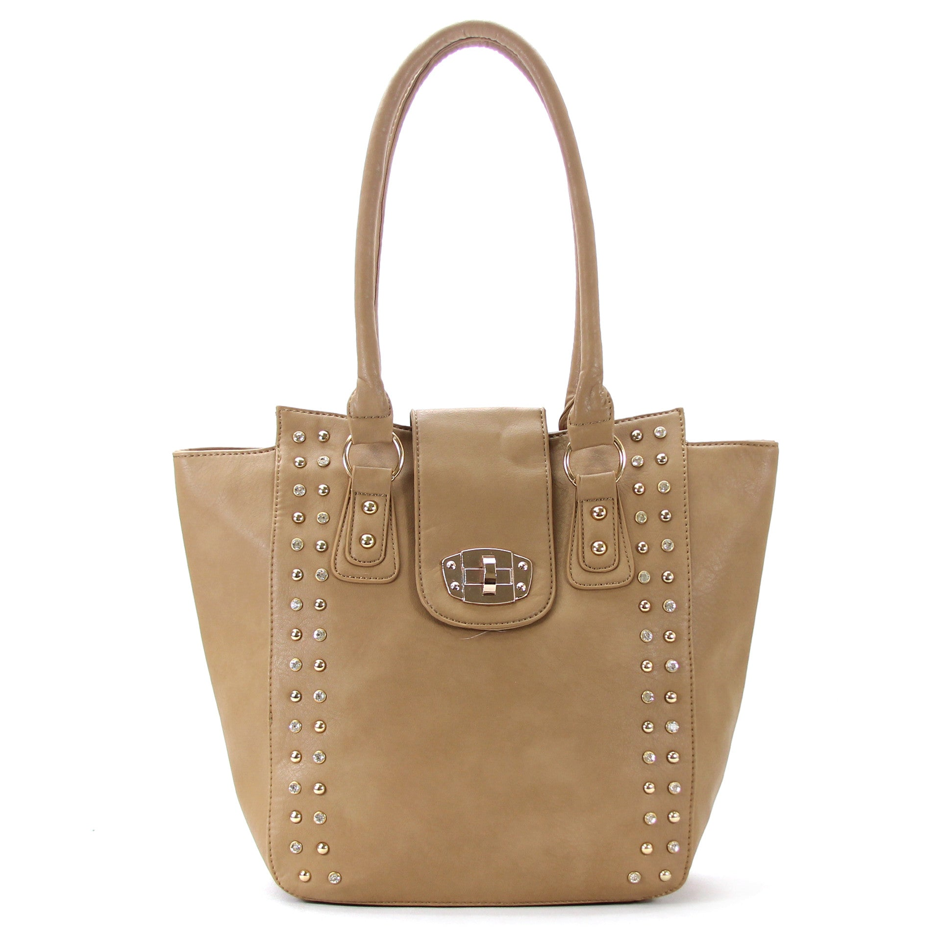 Classic Universal studded Purse Handbag Tote Bag - Khaki - Pop Fashion