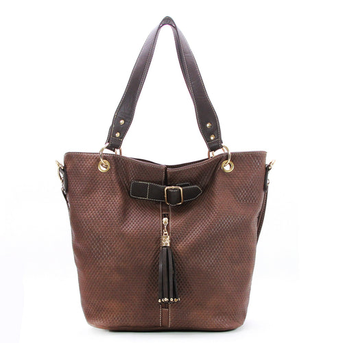 Casual Everyday Tassell Purse Handbag Tote Bag-Brown