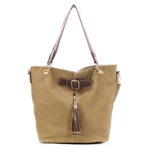 Casual Everyday Tassell Purse Handbag Tote Bag-Khaki