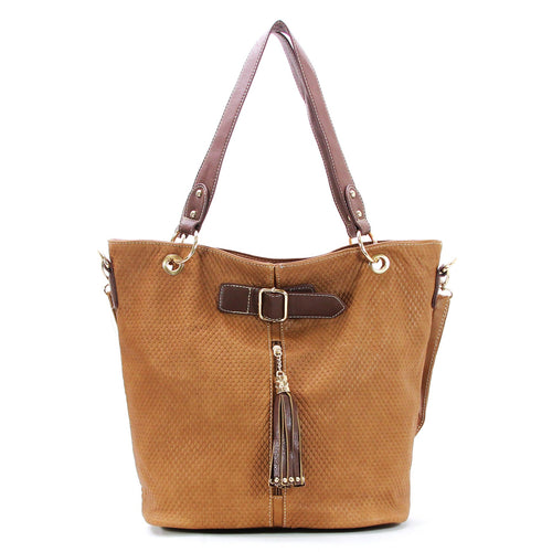 Casual Everyday Tassell Purse Handbag Tote Bag-Tan