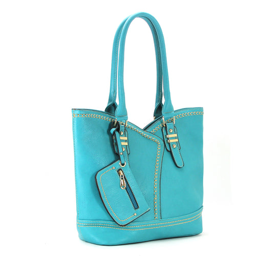 Dressy Refined Wallet Purse Handbag Tote Bag- Turquoise