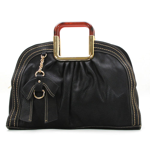 Beautiful Bow Purse Handbag Satchel Tote Bag- Black