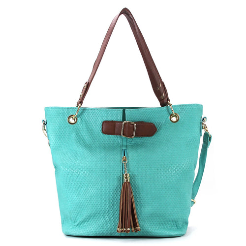 Casual Everyday Tassell Purse Handbag Tote Bag- Teal