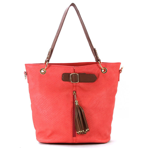 Casual Everyday Tassell Purse Handbag Tote Bag- Coral