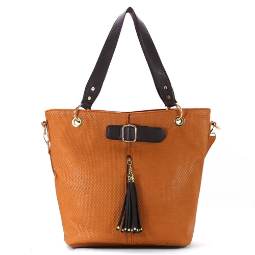 Casual Everyday Tassell Purse Handbag Tote Bag-Saddle