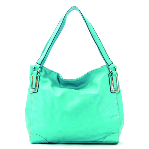 Trendy Slack Purse Handbag Tote Bag - Turquoise