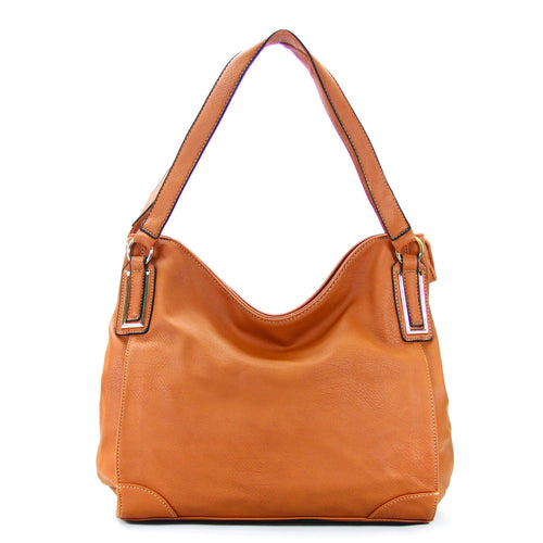 Trendy Slack Purse Handbag Tote Bag - Tan