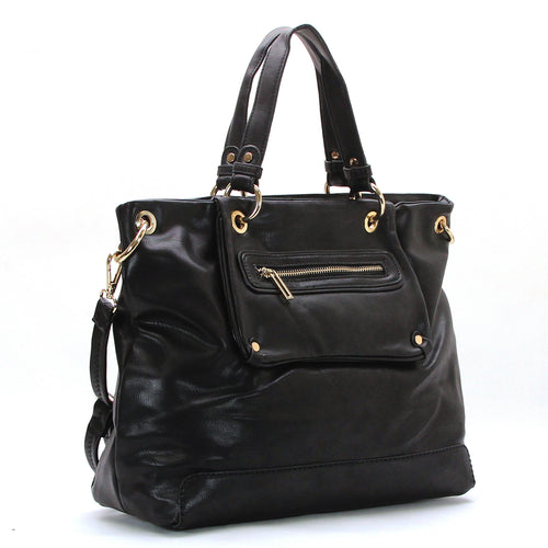 Trendy Everyday Purse Handbag Tote Bag- Black