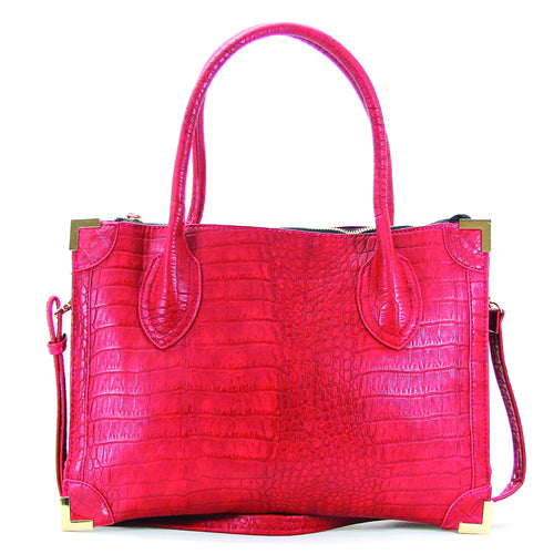 Trendy Classic Snake Print Purse Handbag Tote Bag- Red