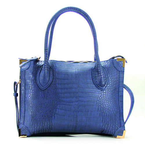 Trendy Classic Snake Print Purse Handbag Tote Bag  - Blue