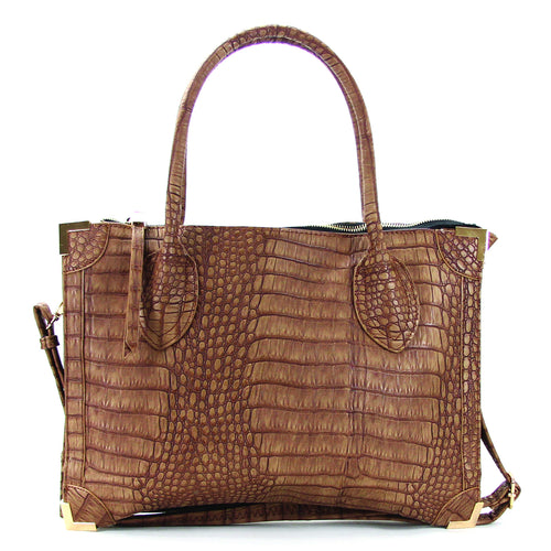 Trendy Classic Snake Print Purse Handbag Tote Bag  - Coffee