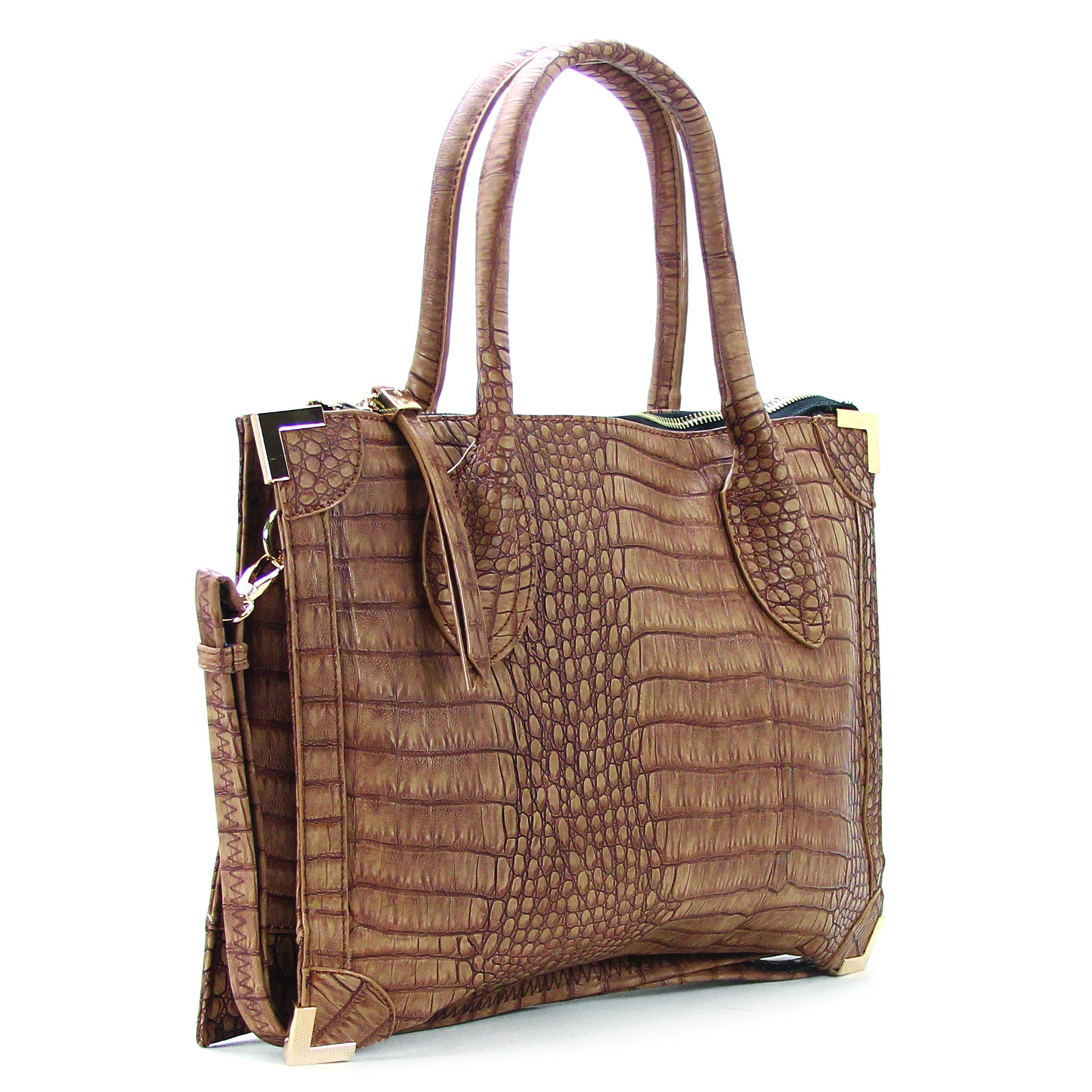 Trendy Classic Snake Print Purse Handbag Tote Bag  - Coffee - Pop Fashion