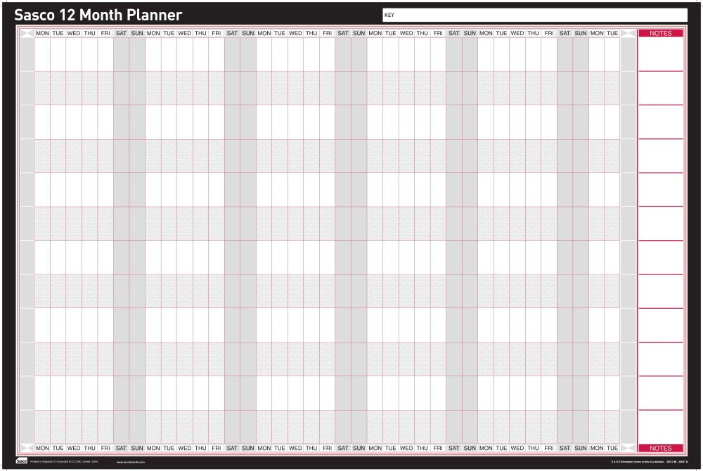Sasco Mounted Undated Wall Planner 915x610mm