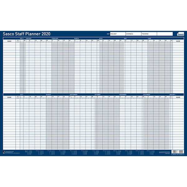Sasco 2020 Poster Style Staff Planner with wet wipe Pen & sticker pack | 915 x 610mm | 2410115D
