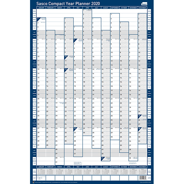 Sasco 2020 Compact Portrait Poster Style Year Planner with wet wipe pen & sticker pack | 405 x 610mm | 2410107D