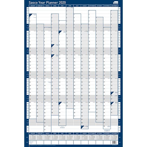 Sasco 2020 Poster Style Portrait Year Planner with wet wipe pen & sticker pack | 610 x 915mm | 2410104D
