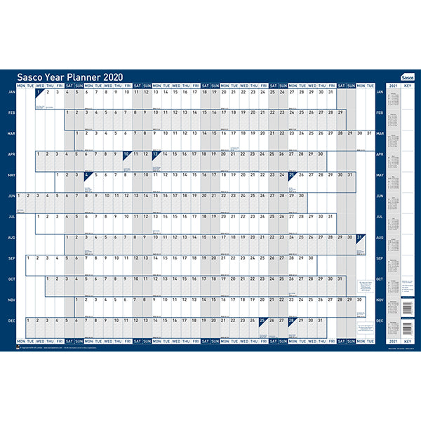 Sasco 2020 Board Mounted Wall Planner with wet wipe pen & sticker pack | 915 x 610mm | 2410100D