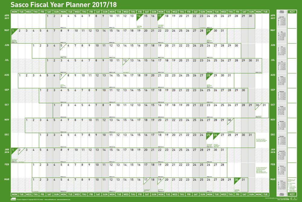 Sasco 2017/2018 Mounted Fiscal Wall Planner 915x610mm
