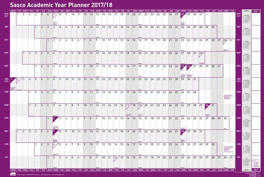 Course Calendar Utm Planner : Sasco  unmounted academic wall planner mm