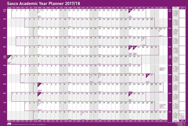 Sasco 2017/2018 Mounted Academic Wall Planner 915x610mm