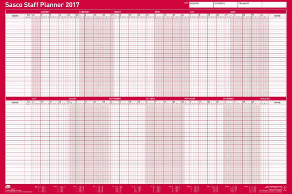 Sasco 2017 Unmounted Staff Planner 915 x 610mm