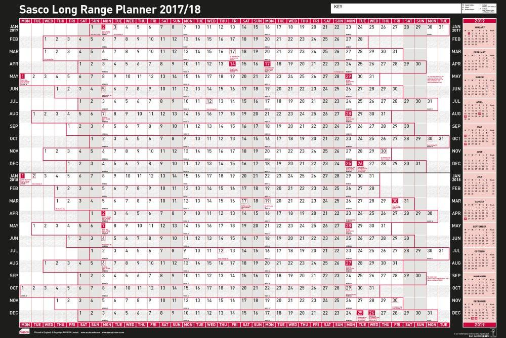 Sasco 2017-2019 Long Range Wall Planner 915x610mm