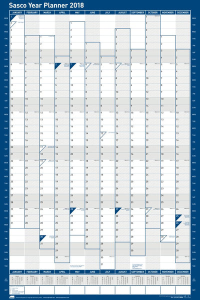 Sasco 2018 Unmounted Portrait Year Wall Planner 610x915mm