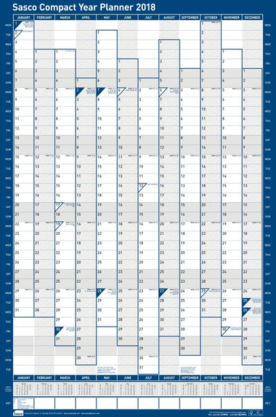 Sasco 2018 Unmounted Compact Year Wall Planner Portrait 405 x 610mm