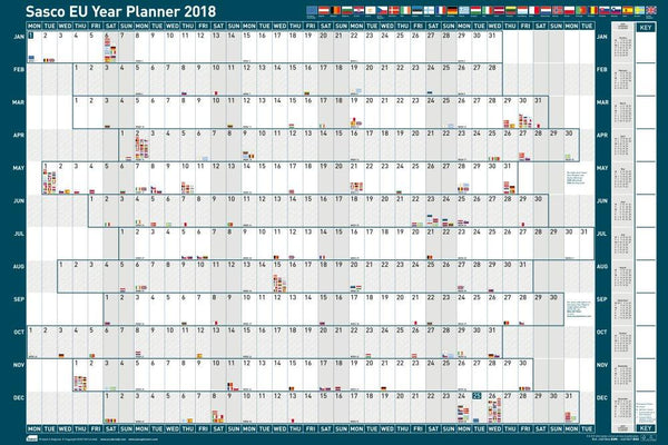 Sasco 2019 Mounted EU Year Wall Planner 915x610mm