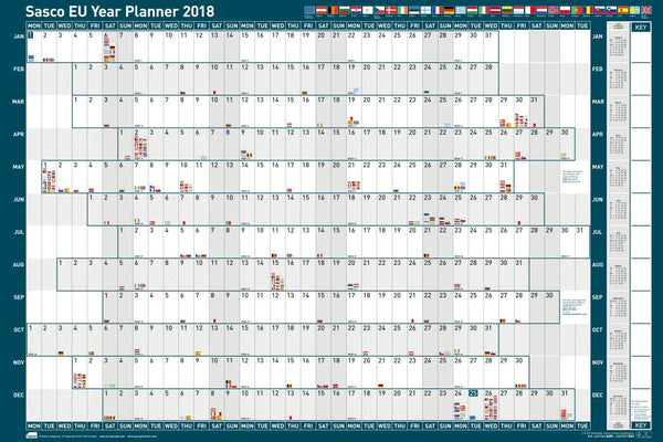 Sasco 2018 Mounted EU Year Wall Planner 915x610mm