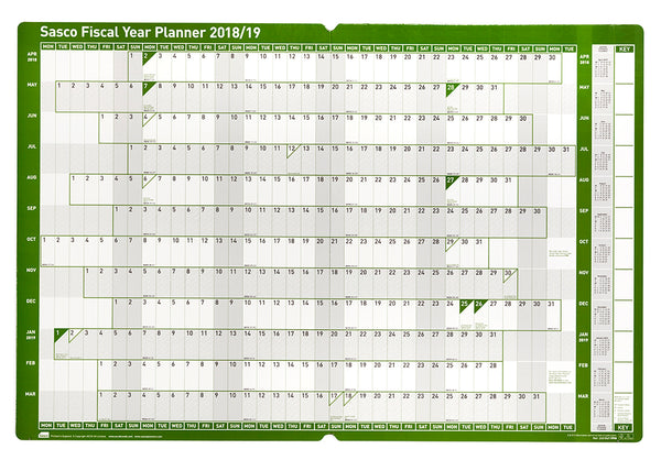 2018 - 2019 Board Mounted Fiscal Planner with wet wipe pen & sticker pack | 915 x 610mm