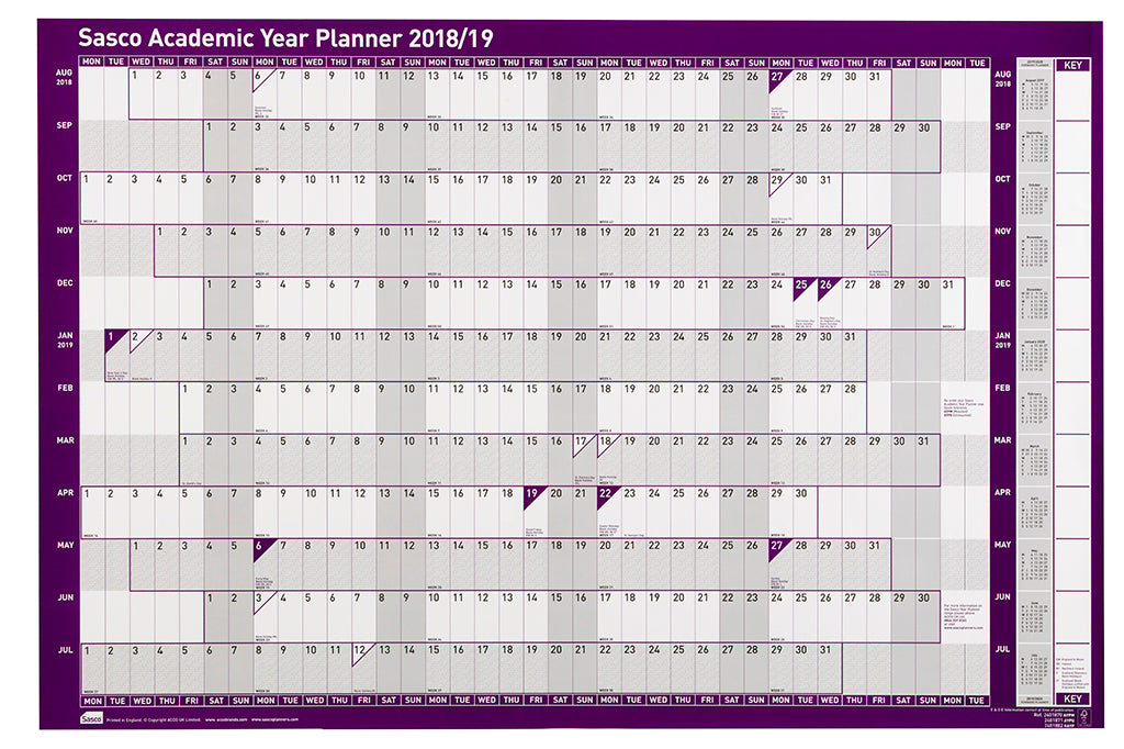 Sasco 2018 - 2019 Board Mounted Academic Planner with wet wipe pen & sticker pack | 915 x 610mm