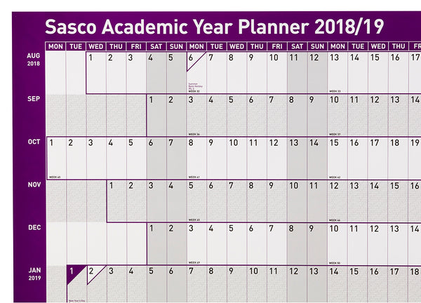 Sasco 2018 - 2019 Poster Style Academic Planner with wet wipe pen & sticker pack | 915 x 610mm