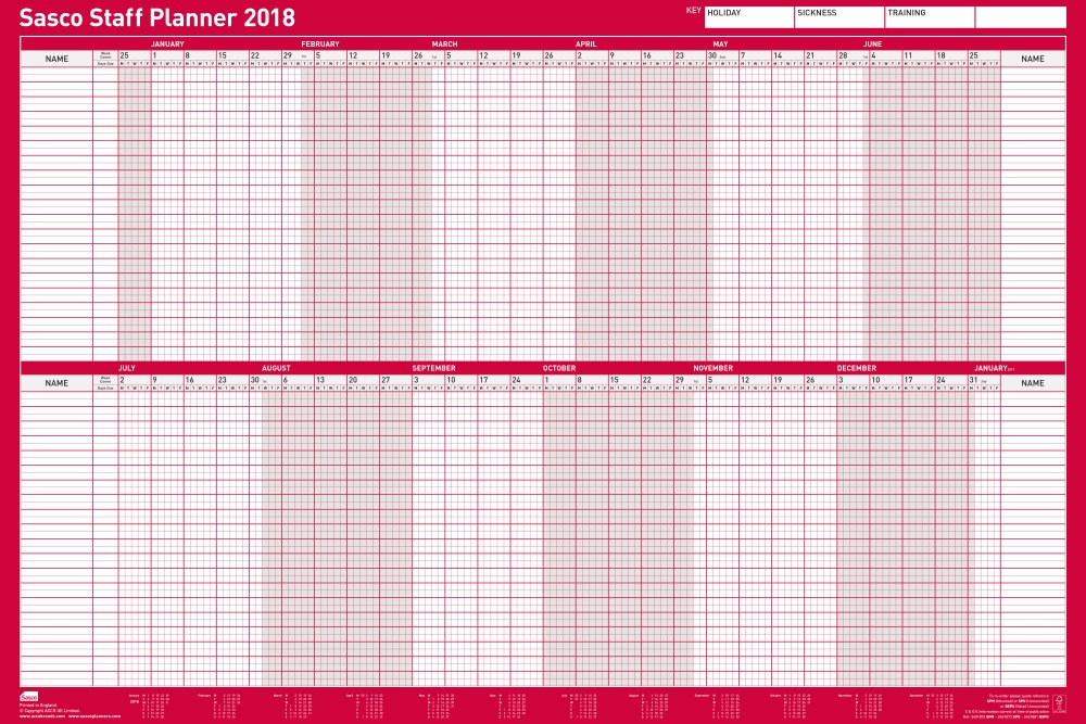 Sasco 2018 Unmounted Staff Wall Planner 915x610mm