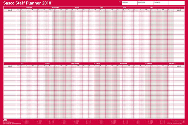 Sasco 2018 Mounted Staff Wall Planner 915x610mm