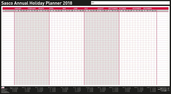 Sasco 2018 Unmounted Annual Holiday Wall Planner 750x410mm